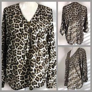 MK Leopard Print Roll Sleeve Blouse Size 10